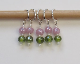 Pretty beaded stitch markers set of five in pink and green