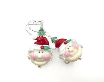 Mrs. Santa Claus Lampwork Earrings, Christmas Earrings, Glass Bead Earrings, White Dangle Earrings, Lampwork Jewelry, Red Beadwork Earrings