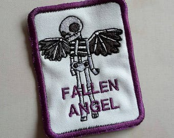 Fallen Angel, skeleton with wings, biker chick, bad girl, patch patches UK