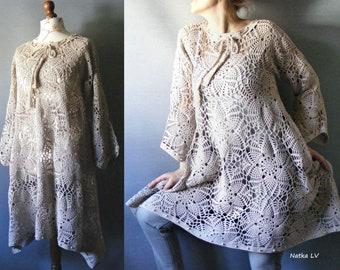 Crochet boho dress, outmeal crocheted tunic, bohemian asymmetric tunic, summer cotton dress, off white tunic, women clothes, plus size tunic