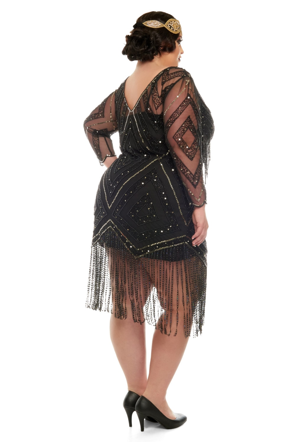 Plus Size Betty Black Fringe Dress With Sleeves Slip Included 20s