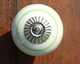 Striped Ceramic Drawer Knobs - Cabinet Knobs in White and Lime Green (CK72)
