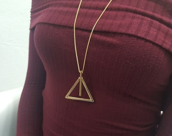 Triangle pendant necklace gold colour minimal style fashion jewelry women's necklaces