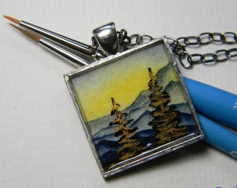 Medium silver pendant necklace - Mountains, Pine trees, Metallic - Nature jewelry - Landscape painting - Original art