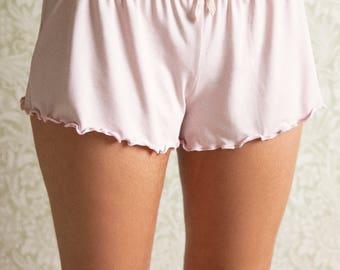 pajama shorts, panties, sleep shorts, organic lingerie, panty, pyjamas, sleepwear, organic nightwear, loungewear, shorty, ethical lingerie,