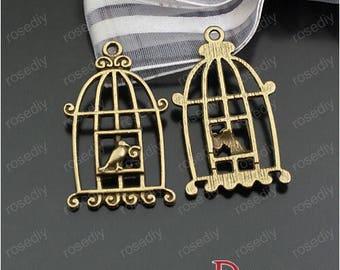 10 bronze 34 * 20MM D24006 Birdcage charm