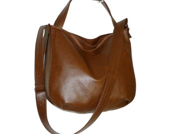 brown vegan crossbody bag, dark brown leather crossbody bag, dark brown hobo bag, dark brown crossbody bag, dark brown tote bag, brown purse