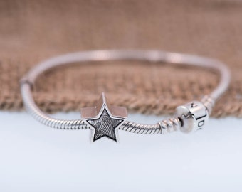Star Fingerprint Charm Handcrafted In Pure Silver