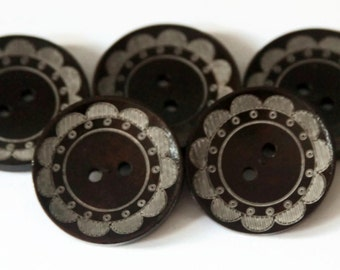 4 Flower Edge Buttons - 30mm Buttons - Dark Wooden Button - Brown Natural Round - Thick Buttons - Large Patterned Buttons - Button - NW88