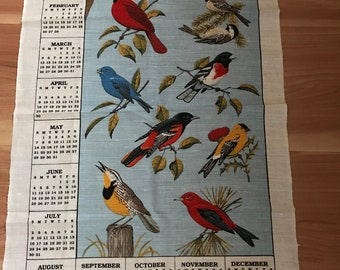 "Vintage 1995* Cloth Towel Calendar* Fiesta Of Birds* 25"" T X 16-3/4"" W*"