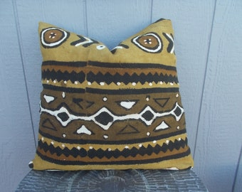 African Mud cloth Multi color White Black Brown Mustard Tribal pattern pillow cover