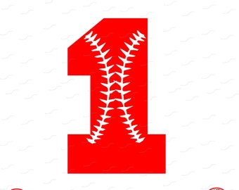 Digital Cut File, Monogram Baseball Numbers, Number 1, 1, Softball, Vinyl Cutting File, Baseball, SVG, DXF, EPS, Silhouette, Cricut