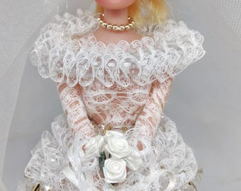 Vintage Safety Pin Doll Bride!