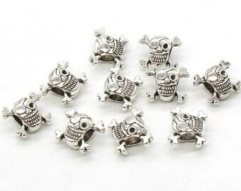 5 Pcs Skull and Bone Beads Large Hole Beads Antique Silver Tone - B28