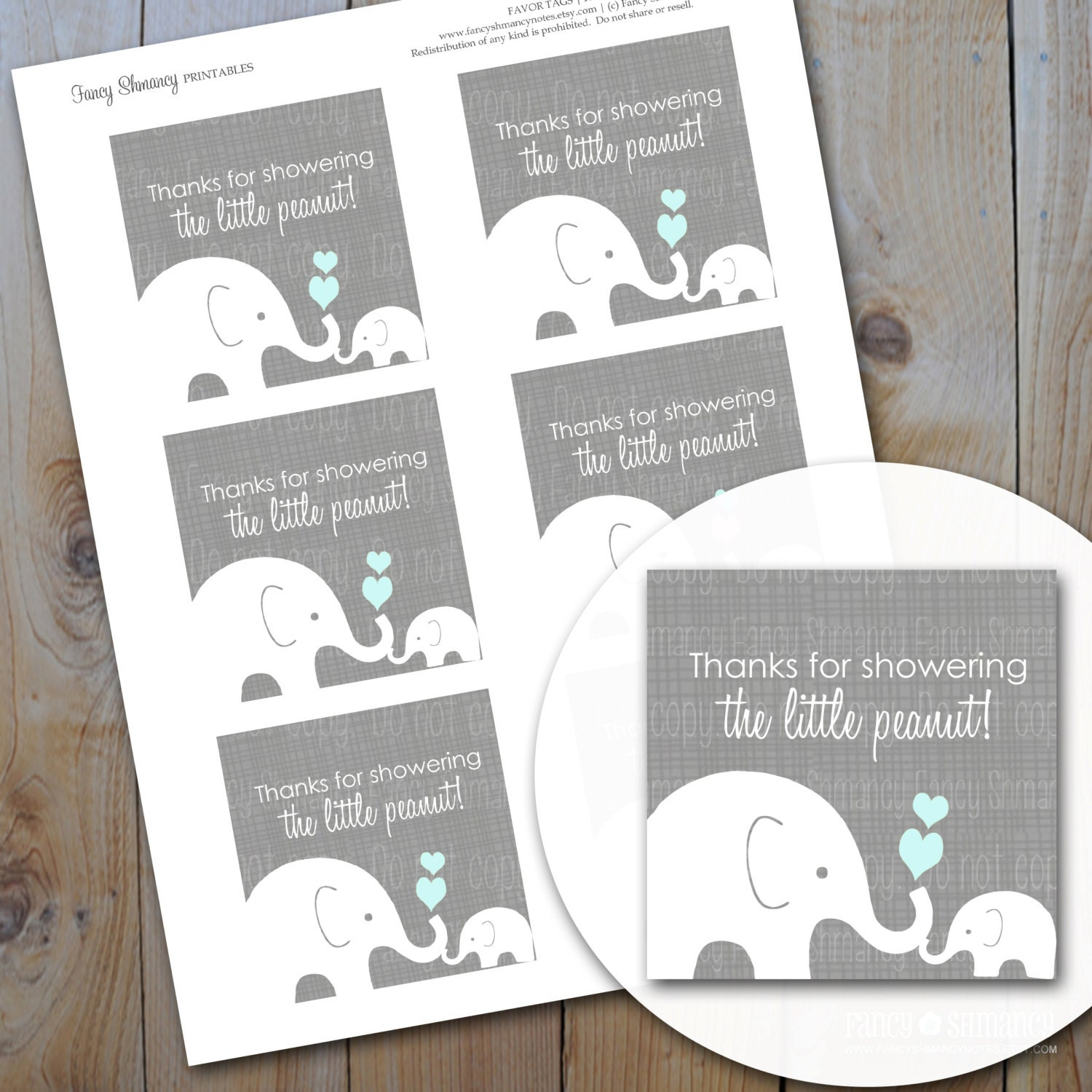 Elephant Baby Shower Favor Tags/ Blue And Grey Little Peanut / Instant  Download / PRINTABLE / #10215