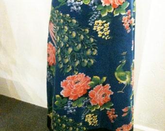 Kenzo, Vintage, 1970's, Velvet Floral Print Wrap Skirt