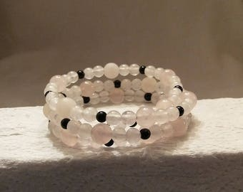 Black Onyx Rose Quartz Memory wire Bead Bracelet