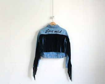 Stay Wild Jacket   Hand Embroidery on Deni Jacket with Suede Fringes
