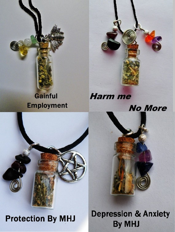 Wholesale Bulk Lot of 10 Charm Bottle Necklaces Pagan Wiccan Witch