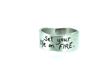 bohemian wedding ring . sterling silver inspirational Rumi quote ring . wide silver ring . ready to ship size 5 6 7 8 9
