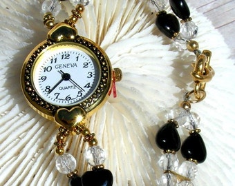 Gold Watch, Quartz Crystal, Onyx - W087
