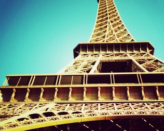 Paris Photography Eiffel Tower Vintage Looking Turquoise Photography Dreamy Romantic Paris landmark