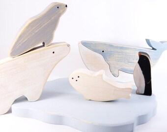 Jouet en Bois vintage Banquise - Baleine - Ours blanc - pingouin // Jouet pour enfants // Jouet en bois vintage // montessori