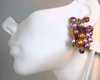 Lavender, Purple Aurora and Gold Clip Earrings, Dangling Grape Cluster Beads, 1960s Glam Hollywood Fancy Pearls n Pastels