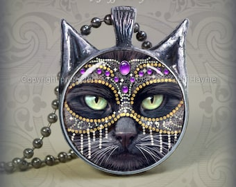KM3 Purple and Silver Masked Cat pendant