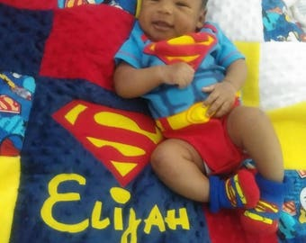 Superman soft baby quilt