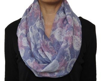 Soft Light Weight Dandelion Print Infinity Circle Scarf Lilac Purple