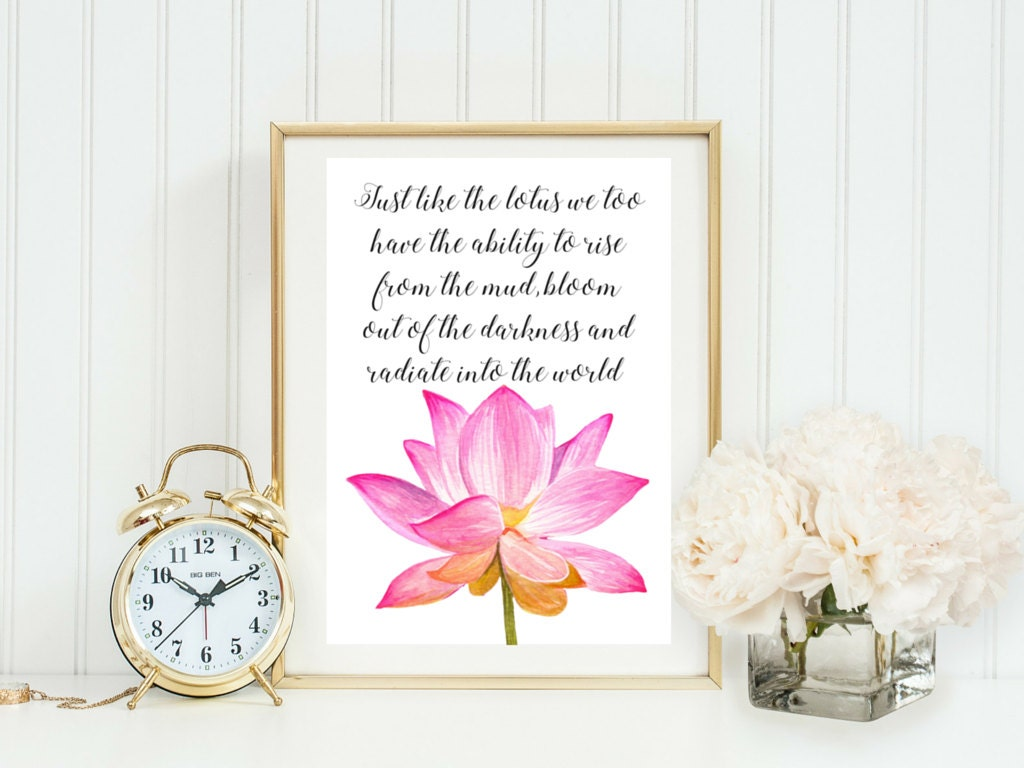 Lotus flower buddha quote typographic print a4 printable zoom izmirmasajfo