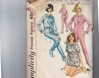 1960s Vintage Sewing Pattern Simplicity 6093 Misses One Piece Jumpsuit Sleeper Booties Romper Pajamas PJs Sleep Outfit Size 18 Bust 38 1965