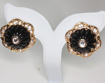 Vintage Joan Rivers Black Dome Center Earrings Clear Crystals Gold Tone Setting Pierced Posts