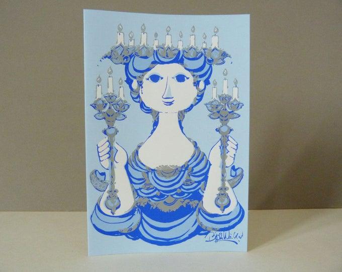 Bjorn Wiinblad candle lady Greetings card