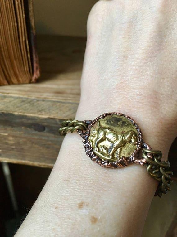 Bracelet , electroformed bracelet, NaturalJewelry,Dog Bracelet, Gypsy Bracelet, unisex bracelet