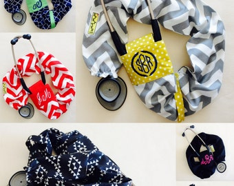ADD-ON Custom Embroidery or Monogramming-does NOT include cover. Add your name,title, monogram initials to any stethoscope cover in my shop.