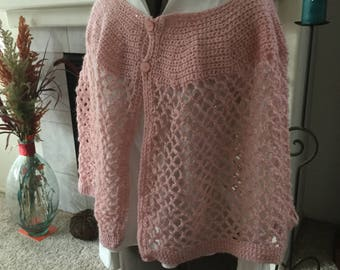 Soft pink cape poncho, crochet