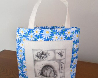 Original pen ink drawing on SMALL fabric tote bag, gift bag, teacher gift bag, bees, Monica Minto