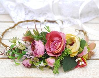 Wedding flower halo Flower girl crown Wedding floral halo Girl hair wreath Floral hair wreath Wedding halo Flower girl crown Maternity photo
