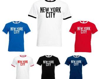 New York City NYC John Lennon Inspired Mens/Adults Ringer Tshirt - Retro 1970s