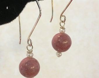 Rhodonite Earrings, Freshwater Pearls, Sterling Silver Ear Wires