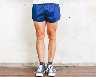 Men Sports Shorts . Athletic Shorts Blue Shorts Vintage Shorts Beach Shorts Mens Beachwear Drawstring Waist . size Small S