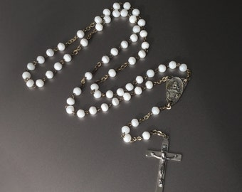 Rosary with White Glass Beads and Art Deco Crucifix - Antique Rosary - Made in Italy