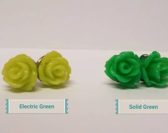 ROSE STUD EARRINGS: Greens (Electric green and solid green)