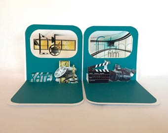 FILM COLLEGE GRADUATE CONGRATULATIONs GREETiNG CaRD 3D Pop Up Opens to a Standing 90 Degree Double Sided in Teal & White. CUSToM ORDeR OOaK