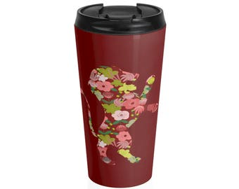 Gryffindor Floral Steel Travel Mug