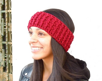 Crochet Headband, Ear Warmer, Adult, Crochet, Dark Red, Women,Teen, Ready To Ship,,