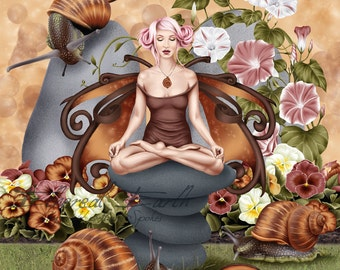 Snail Fairy Muse Yoga Pose - Fantasy Fine Art Print