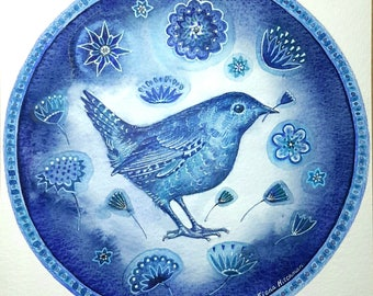 Blue Bird with Flowers